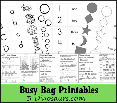 Free Busy Bag Printables: ABCs, Numbers & Shapes - 3Dinosaurs.com