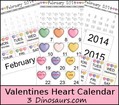 Free Valentines Heart Calendar - 3Dinosaurs.com