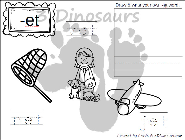New CVC Word Family Coloring Pages: Short E Vowel | 3 Dinosaurs