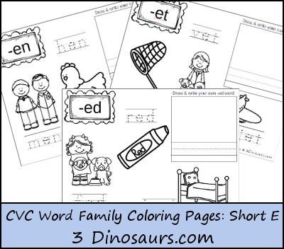 CVC Word Family Coloring Pages: Short E Vowel