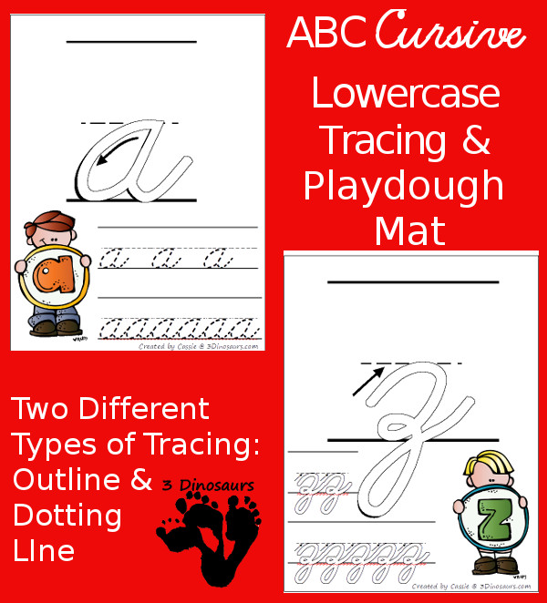 FREE ABC Lowercase Cursive Tracing Pages with Playdough Mats