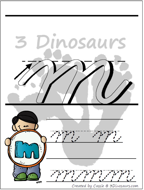 FREE ABC Lowercase Cursive Tracing Pages with Playdough Mats - 3Dinosaurs.com
