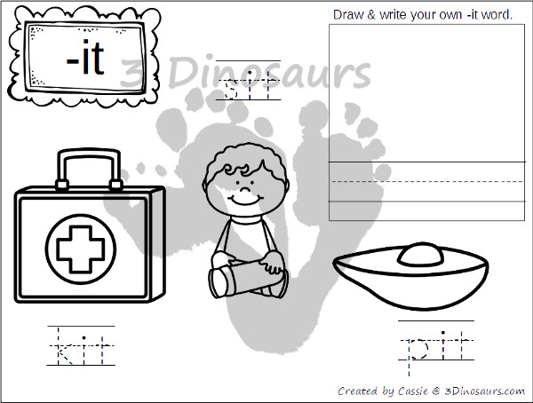 New CVC Word Family Coloring Pages: Short I Vowel: -ig, -in, -ip, -it - 3Dinosaurs.com