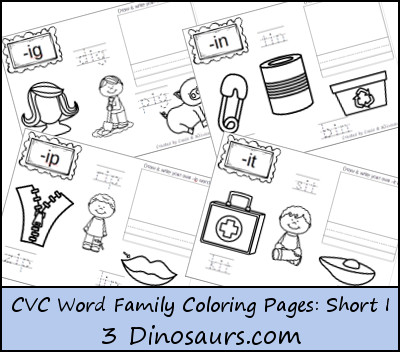 New CVC Word Family Coloring Pages: Short I Vowel -ig, -in, -ip, -it - 3Dinosaurs.com