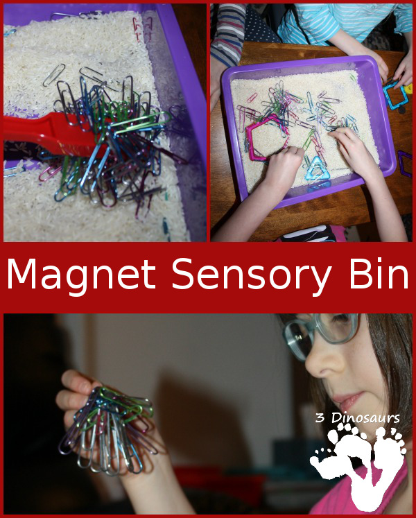 Playing with Magnets Sensory Bin - 3Dinosaurs.com