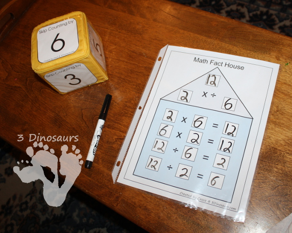 Free Math Fact Houses for Multiplication & Division Printable - 3Dinosaurs.com