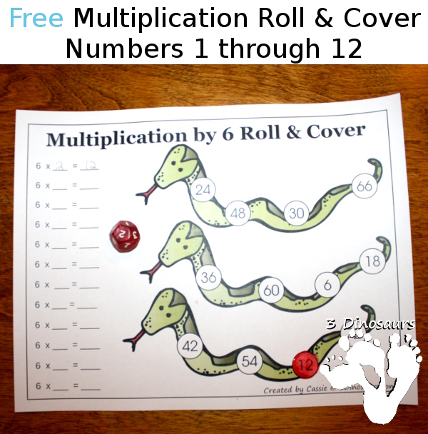 Free Multiplication Roll & Cover Printable - 3Dinosaurs.com
