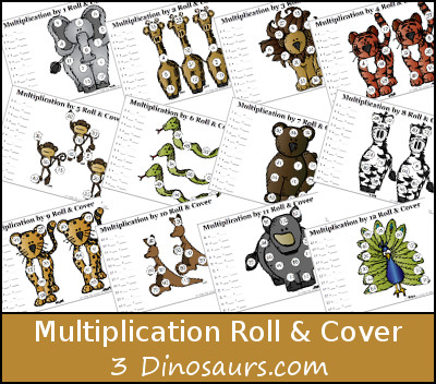Free Multiplication Roll & Cover Printable - 3Dinosaurs.com