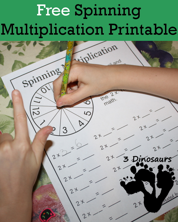 Free Spinning Multiplication Printable - 3Dinosaurs.com