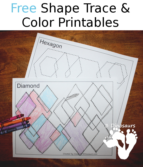 Free Shape Trace & Color Printables