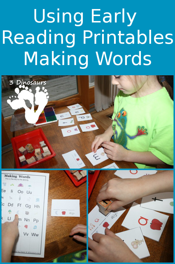 Using BOB Books Printables: Making Words - 3Dinosaurs.com