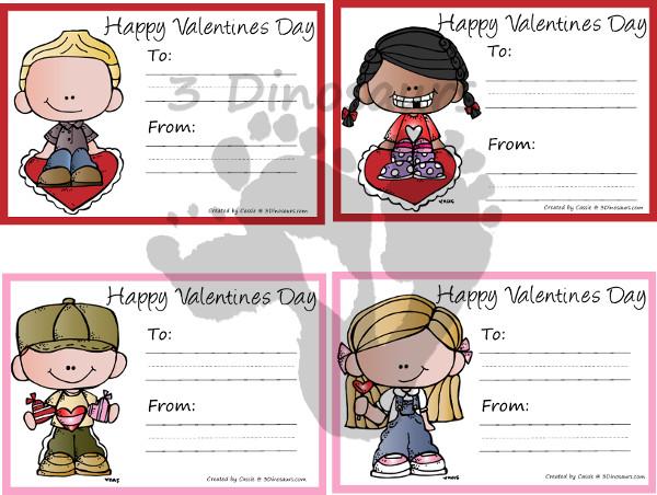 Free Valentines Cards Printables - 3Dinosaurs.com