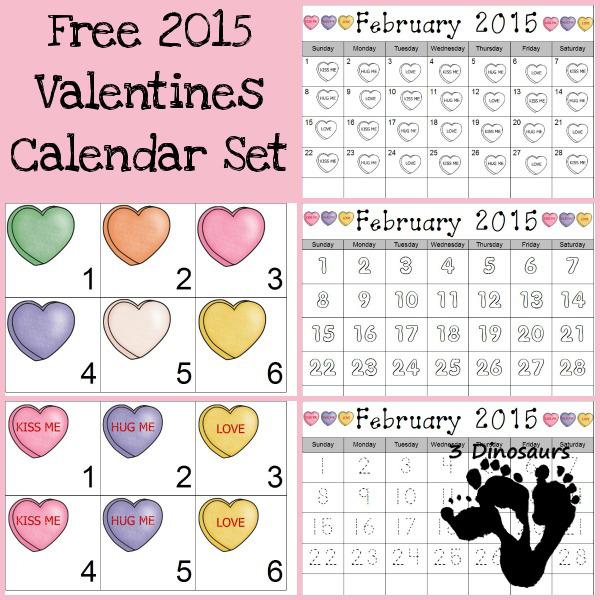 Free 2015 Valentines Calendar Printable- 3Dinosaurs.com