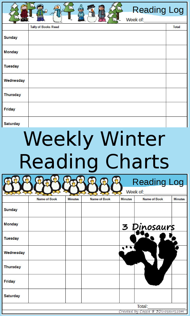 Free Weekly Winter Reading Charts - 3Dinosaurs.com