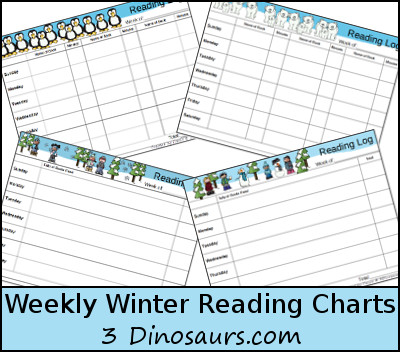 Weekly Winter Reading Charts - 3Dinosaurs.com
