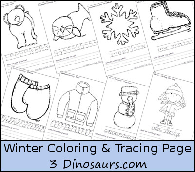Free Winter Coloring with Print & Cursive Words Printables - 3Dinosaurs.com