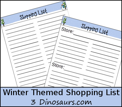 Free Winter Shopping List - 3Dinosaurs.com