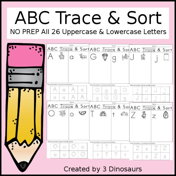 ABC Trace & Sort - 3Dinosaurs.com