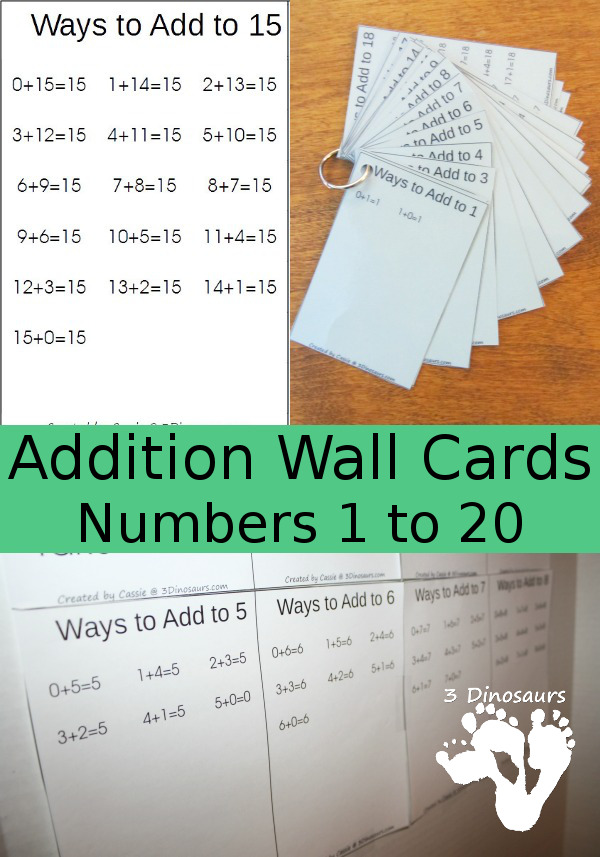 Free Addition Wall Cards: Numbers 1 to 20 - 3Dinosaurs.com