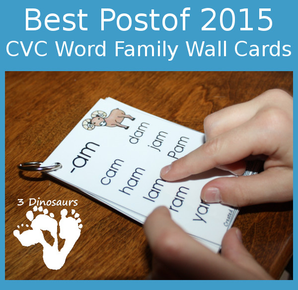 Best Post of 2015 Blog Hop - CVC Word Family Wall Cards - 3Dinosaurs.com