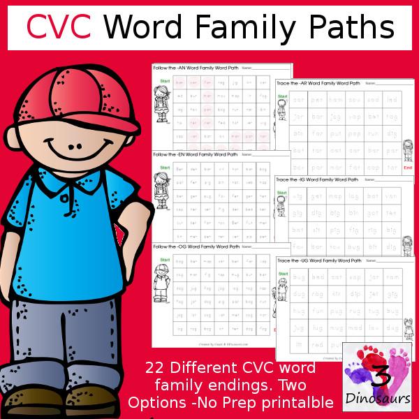 CVC Word Family Paths Dot & Trace! - 3Dinosaurs.com