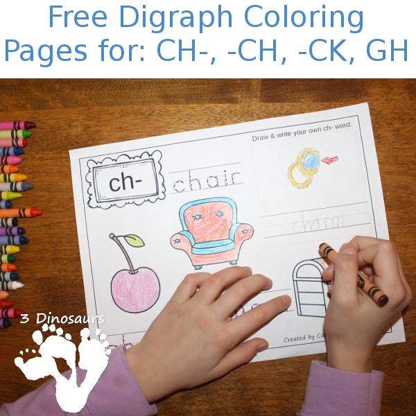 Free Digraph Coloring Pages: CH-, -CH, -CK, GH
