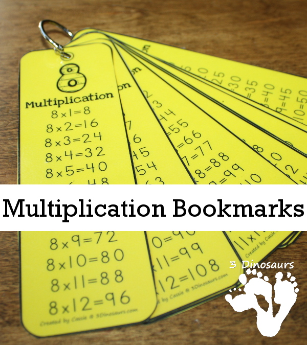 Free Multiplication Bookmarks - Numbers 1 through 12 - 3Dinosaurs.com