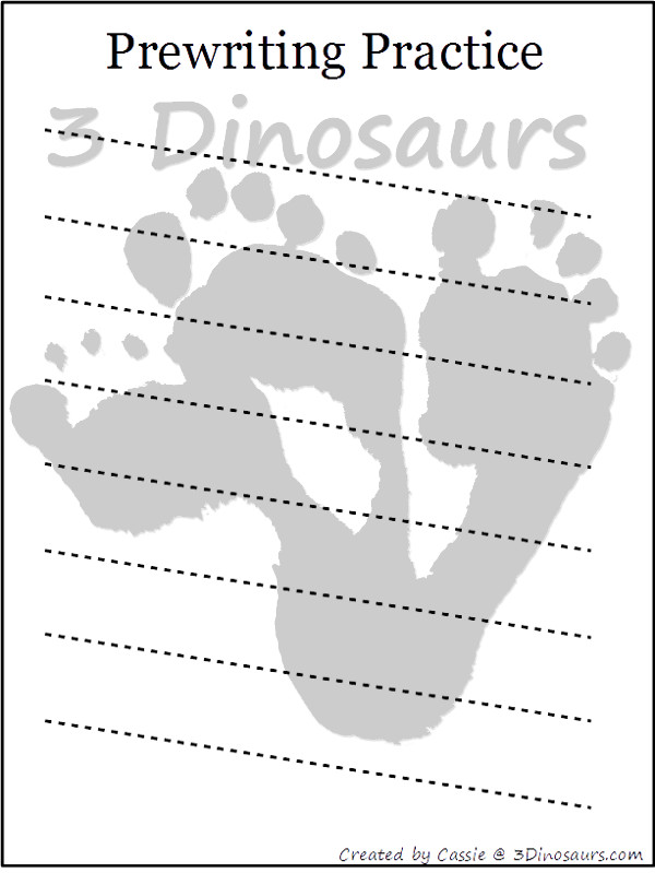 Free Prewriting Practice Printables - 14 different pages - 3Dinosaurs.com