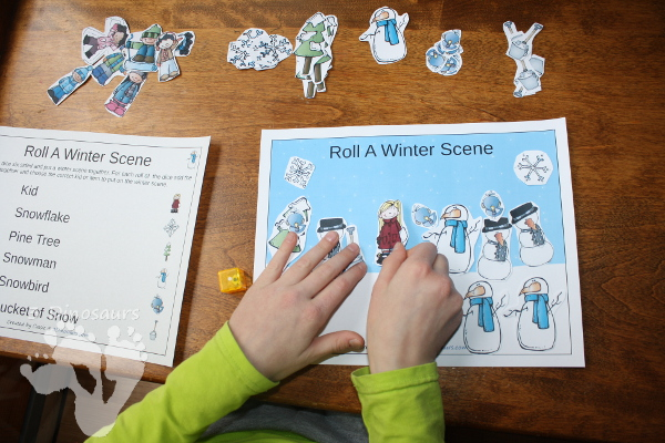 Free Roll A Winter Scene Printable - 3 Levels of learning: counting, addition, and multiplication - 3Dinosaurs.com