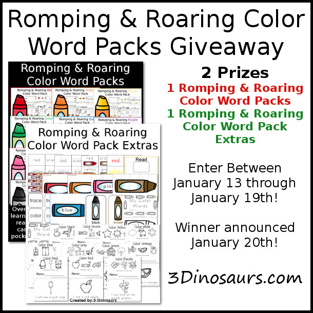 Romping & Roaring Color Word Packs - 3Dinosaurs.com