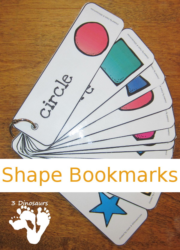 Free Shape Bookmarks - 12 different shapes - 3Dinosaurs.com