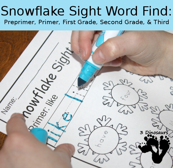 Snowflake Sight Word Find: Preprimer, Primer, First Grade Second Grade and Third Grade - trace & dot the word - 3Dinosaurs.com
