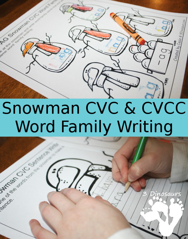 Free Snowman CVC & CVCC Word Family Writing - 3Dinosaurs.com