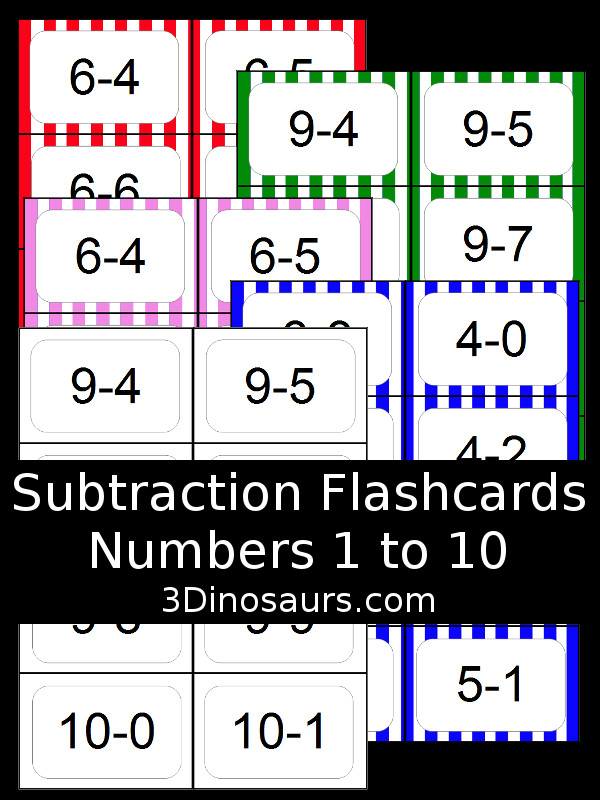 Free Subtraction Flash Cards - 5 colors options numbers 1 to 10 - 3Dinosaurs.com