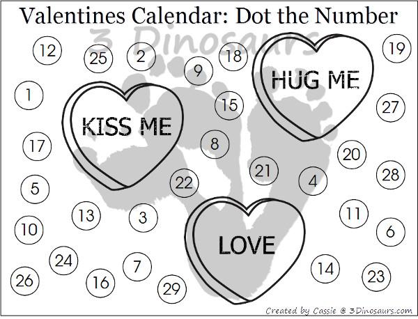 Free 2016 Valentines Calendar Printable - 3Dinosaurs.com