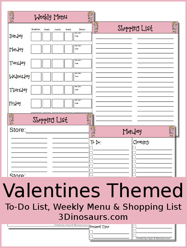 Monthly Goals February 2016 Plus FREE Menu & To Do Lists for Valentines - 3Dinosaurs.com