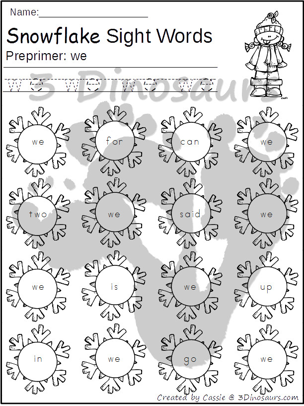 Snowflake Sight Word Find: Preprimer - trace & dot the word - 3Dinosaurs.com