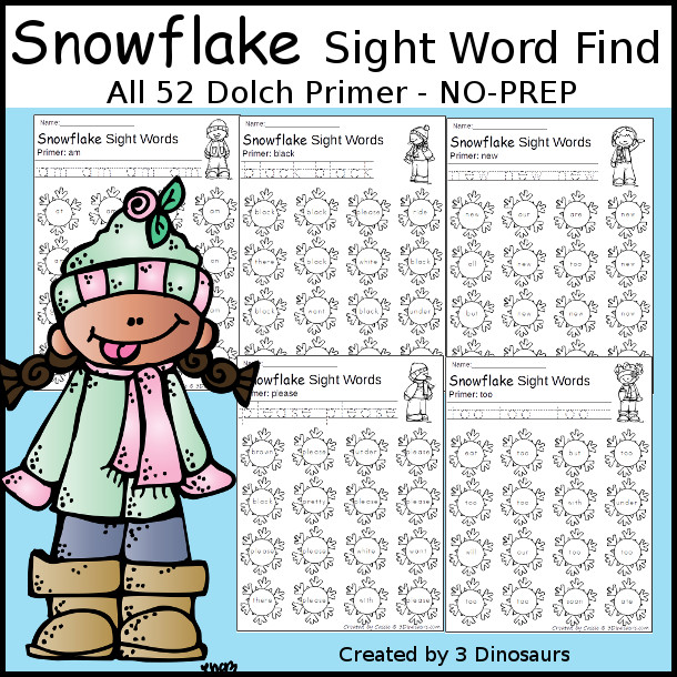 Snowflake Sight Word Find: Primer - trace & dot the word - 3Dinosaurs.com