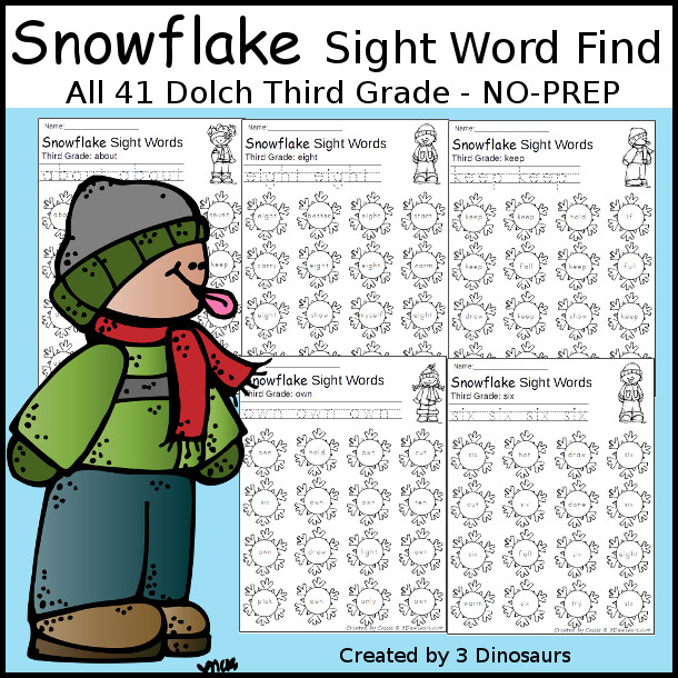 Snowflake Sight Word Find: First Grade - trace & dot the word - 3Dinosaurs.com