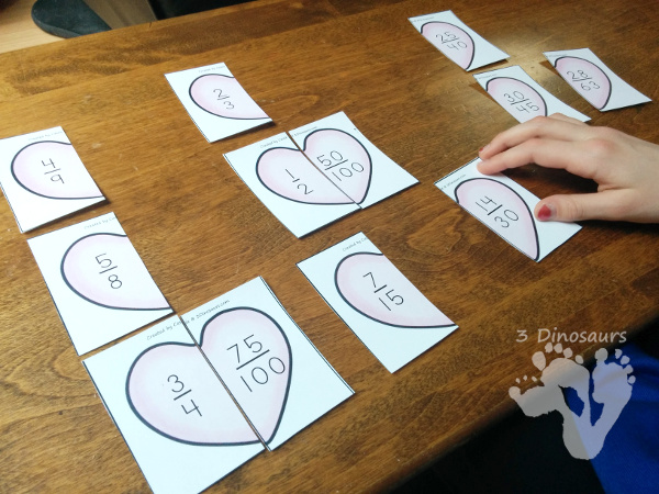 Free Hands-On Matching Heart Fractions That Are Equivalent - 4 pages of printables with 6 hearts per page - 3Dinosaurs.com