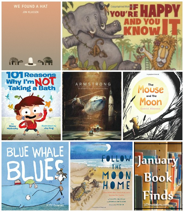Fun to Read Book Finds from January 2017: animals, bath time, gross motor, the moon,friends, mouses, and turtles - 3Dinosaurs.com