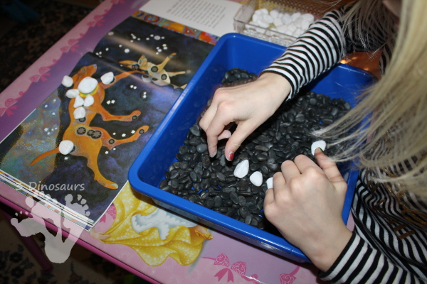 Hands-On Making Constellations Sensory Bin - a fun way to build and read about the stars - 3Dinosaurs.com