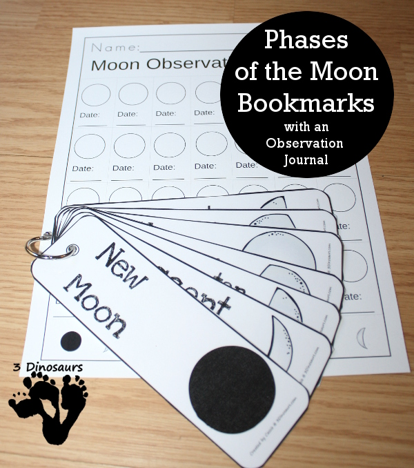 Free Phases of the Moon Bookmarks with an observation journal kids can fill out - options for both hemispheres - 3Dinosaurs.com