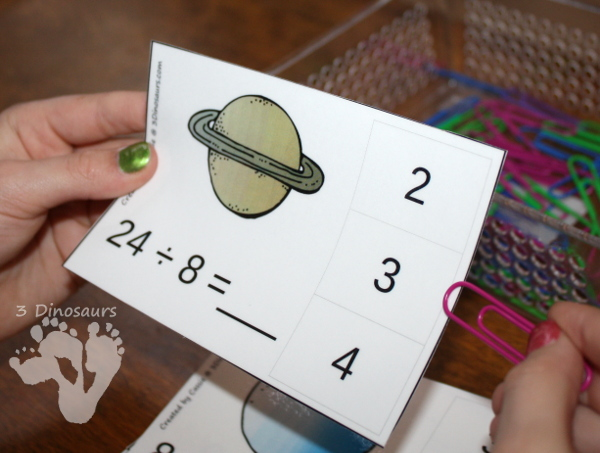 Free Hands-On Space Themed Division Clip Cards - 12 pages with one page for each number 1 through 12 - 3Dinosaurs.com