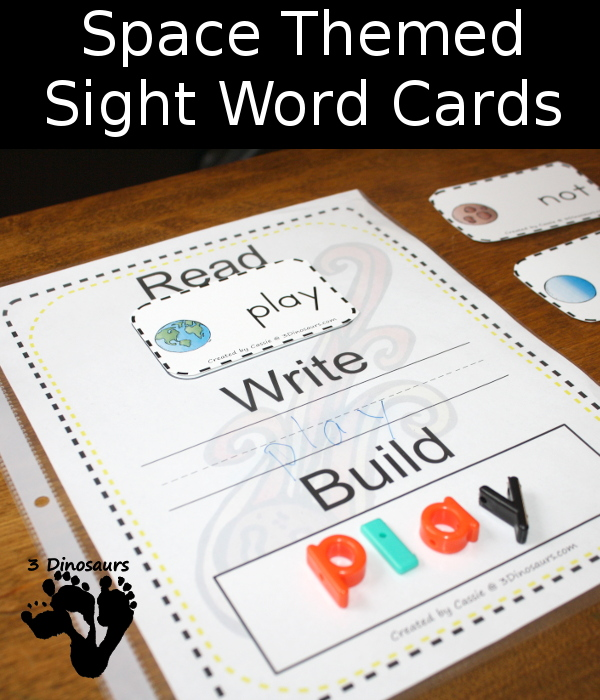 Hands-On Space Themed Sight Word Cards