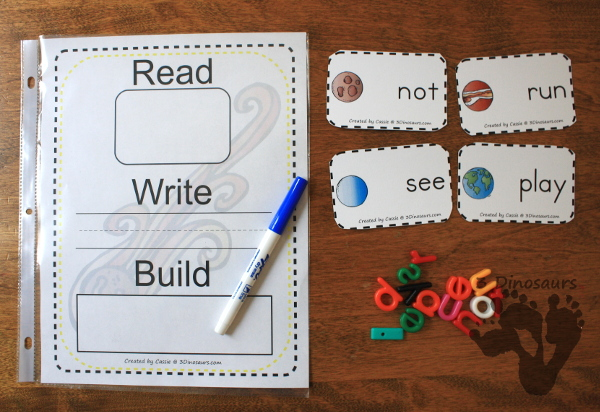 Hands-On Space Themed Sight Word Cards - a great way to work on sight words with kids who love space - 3Dinosaurs.com