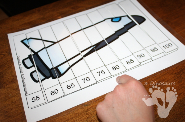 Free Fun Space Skip Counting by 5 Puzzles - 4 pages of puzzles with template - 3Dinosaurs.com