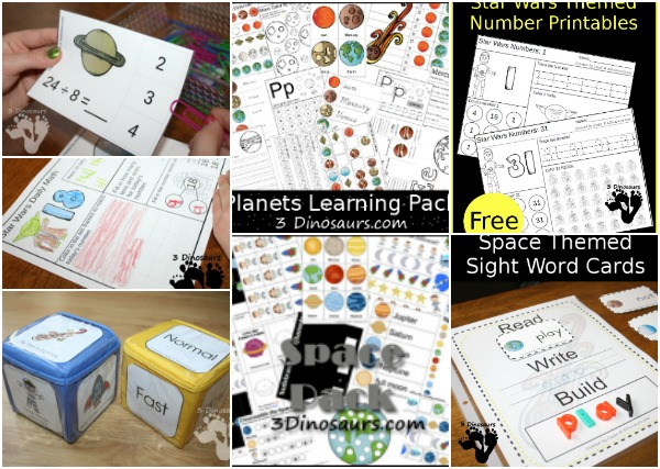 Space Themed Printables - Themed packs, writing, calendars, math and reading - 3Dinosaurs.com