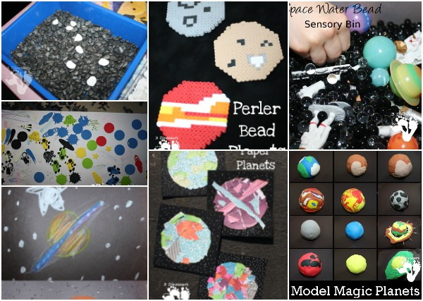 Space Art Crafts & Activities - included sensory bins, craft projects, books and more - 3Dinosaurs.com