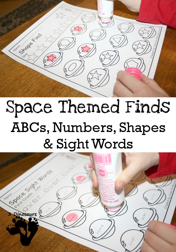Space Themed Finds: ABC, Number Shape & Sight Words - eays to use no-prep printables $ - 3Dinosaurs.com